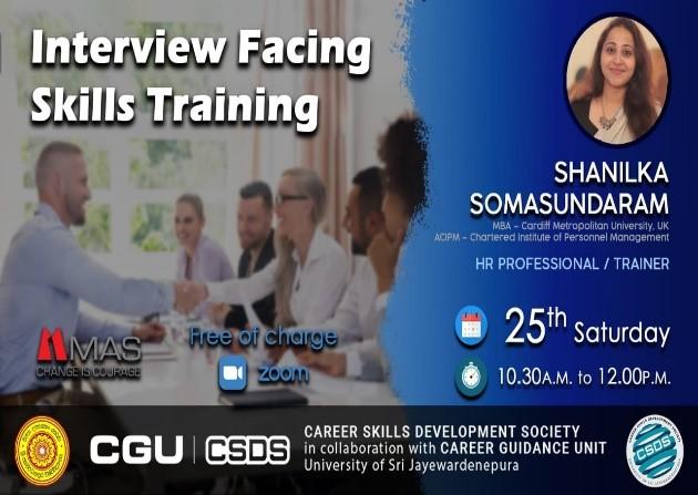 """[VIDEO] """"Interview Facing Skills Training"""" by Ms. Shanilka Somasundaram 24th October 2020"""