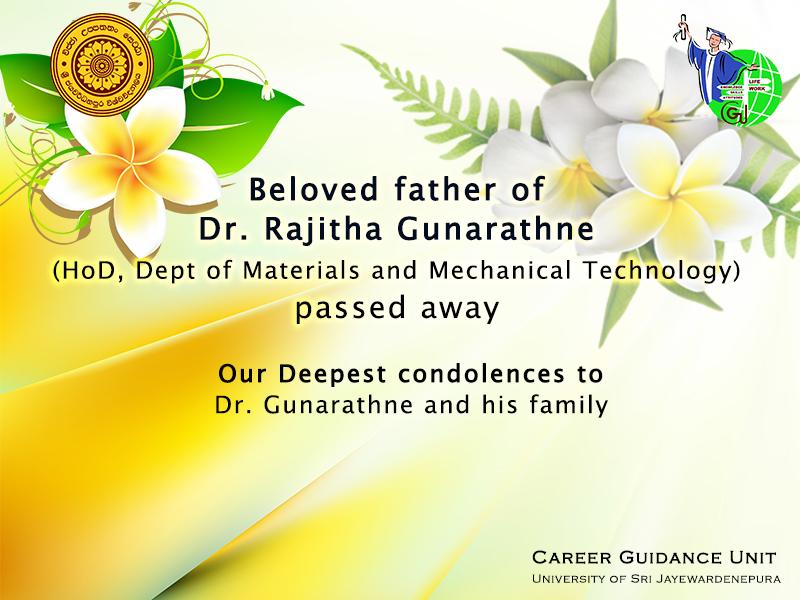 Dr. Rajitha Gunarathne's beloved father passed away